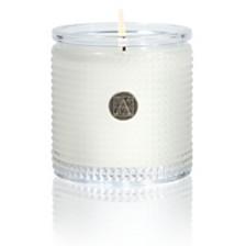 Aromatique White Teak Textured Glass Candle
