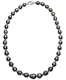 "Cultured Baroque Black Tahitian Pearl (7-11mm) 17-18"" Collar Necklace"