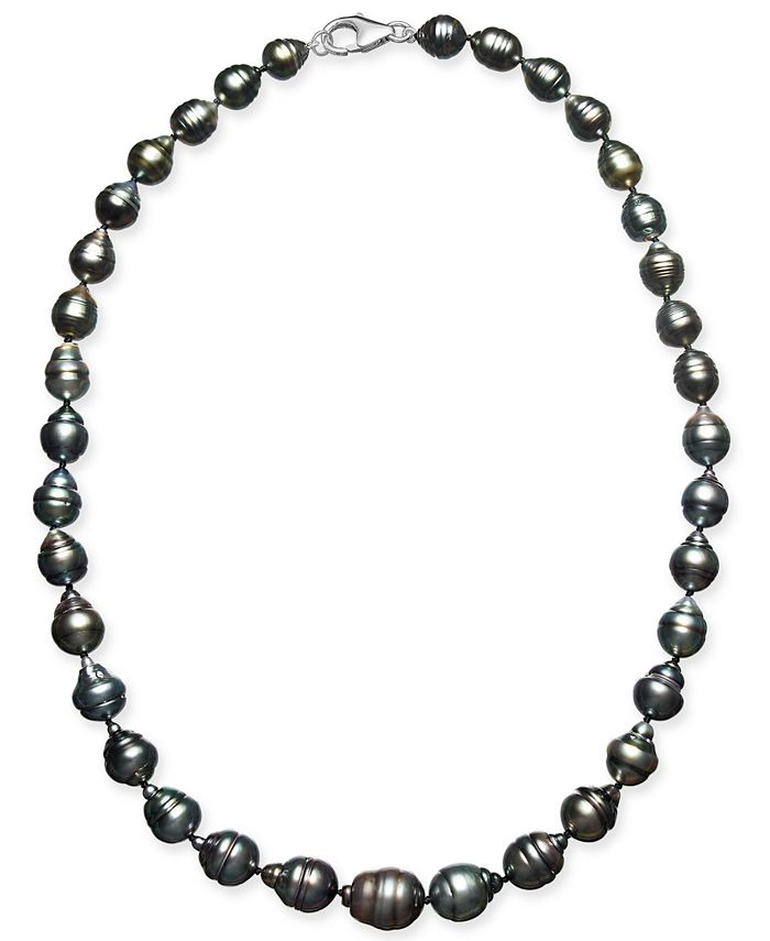 """Macy's - Cultured Baroque Black Tahitian Pearl (7-11mm) 17-18"""" Collar Necklace"""