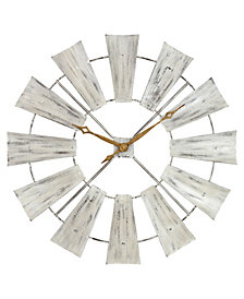 Farmhouse Windmill Wall Clock - White