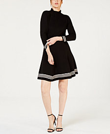 Anne Klein Ruffled Striped-Trim Dress