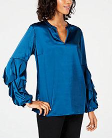 Alfani Ruffle-Sleeve Satin Top, Created for Macy's