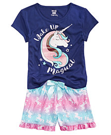 Max & Olivia Big Girls Graphic-Print Pajama Top & Printed Shorts