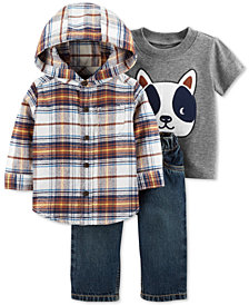 Carter's Baby Boys 3-Pc. Cotton T-Shirt, Hooded Shirt & Denim Jeans Set