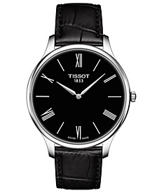 Men's Swiss T-Classic Tradition 5.5 Black Leather Strap Watch 39mm