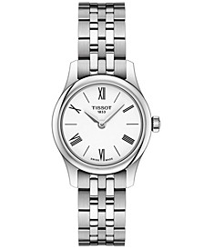 Women's Swiss T-Classic Tradition 5.5 Gray Stainless Steel Bracelet Watch 25mm