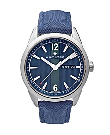 LIMITED EDITION Men's Swiss Broadway Blue Fabric Strap Watch 40mm, Created for Macy's - A Limited Edition