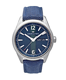 LIMITED EDITION Hamilton Men's Swiss Broadway Blue Fabric Strap Watch 40mm, Created for Macy's - A Limited Edition