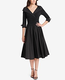 Petite Portrait-Collar Fit & Flare Dress