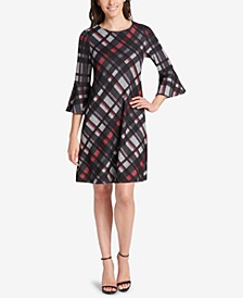 Petite Plaid Bell-Sleeve Dress