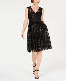 Adrianna Papell Sequin A-Line Dress