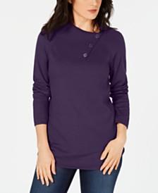Karen Scott Cotton Envelope-Neck Sweater, Created for Macy's