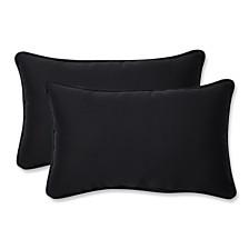 Fresco Black Rectangular Throw Pillow, Set of 2