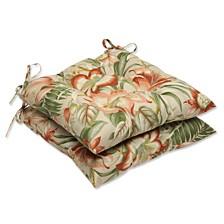 Botanical Glow Tiger Stripe Wrought Iron Seat Cushion, Set of 2