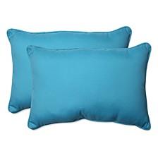Veranda Turquoise Over-sized Rectangular Throw Pillow, Set of 2