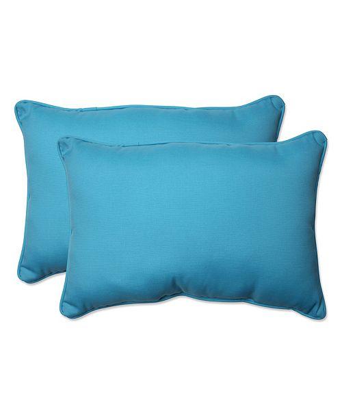 Pillow Perfect Veranda Turquoise Over-sized Rectangular Throw Pillow, Set of 2