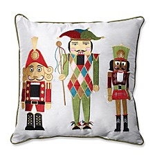 "Holiday Embroidered Nutcrackers Red/Green 16.5"" Throw Pillow"