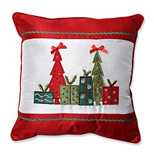 "Christmas Trees and Presents 16.5"" Throw Pillow"