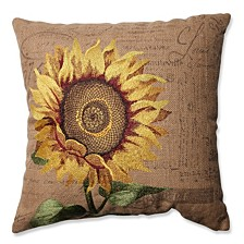 """Sunflower Burlap 16.5"""" Throw Pillow"""