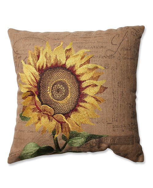 "Pillow Perfect Sunflower Burlap 16.5"" Throw Pillow"