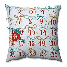 "Advent Pillow Red-Aqua 17.5"" Throw Pillow"