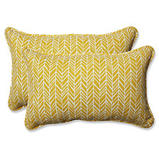 Herringbone Egg Yolk Rectangular Throw Pillow, Set of 2