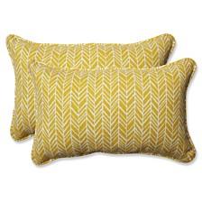 Herringbone Egg Yolk Rectangular Throw Pillow, Set of 2