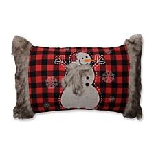 Fur Snowman Oblong Red/Black Rectangular Throw Pillow