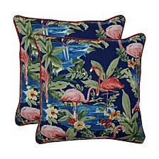 "Flamingoing Lagoon 18.5"" Throw Pillow, Set of 2"