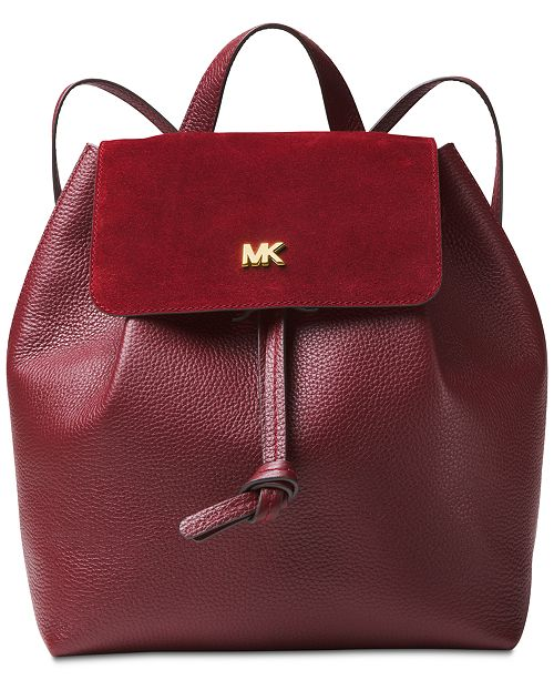 f71452bc80d9 Michael Kors Junie Pebble Leather Suede-Trim Flap Backpack ...