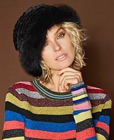 Fox-Trim Rabbit Fur Hat
