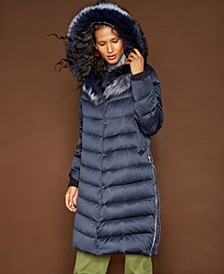 Hooded Fox-Trim Puffer Coat