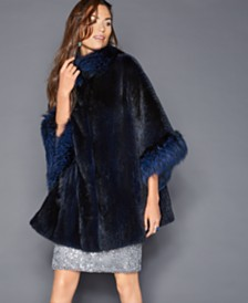The Fur Vault Fox-Trim Mink Fur Cape