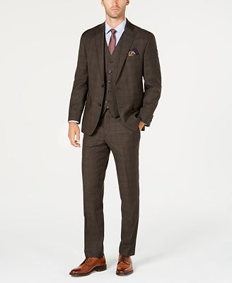 Michael Kors Men's Classic-Fit Stretch Brown Plaid Vested Suit