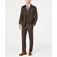 Michael Kors Mens Classic-Fit Stretch Brown Plaid Vested Suit