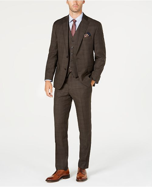 aa37be31d9a Michael Kors Men s Classic-Fit Stretch Brown Plaid Vested Suit ...