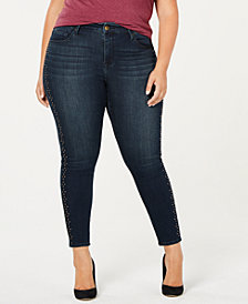 Seven7 Trendy Plus Size Studded Skinny Jeans
