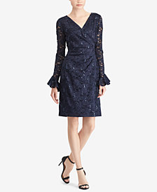 Lauren Ralph Lauren Petite Sequined Lace Ruffle-Sleeve Dress