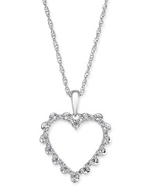 "Diamond Heart 18"" Pendant Necklace (1/4 ct. t.w.) in 14k White Gold"
