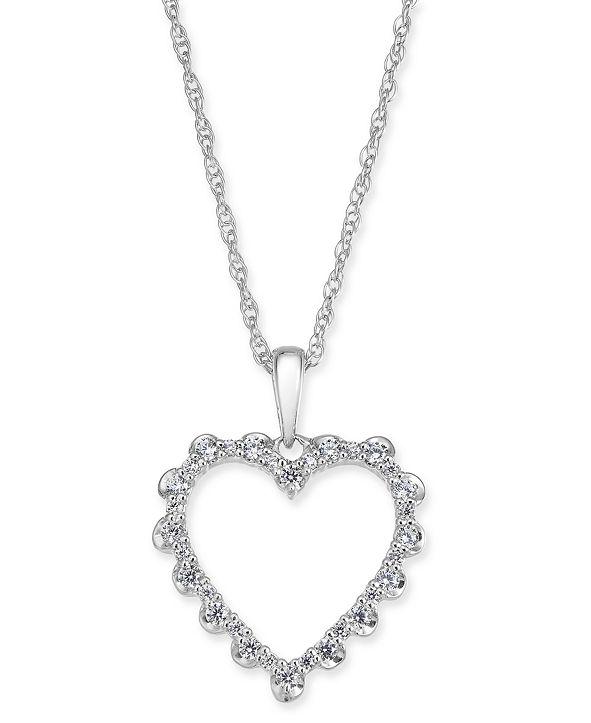"Macy's Diamond Heart 18"" Pendant Necklace (1/4 ct. t.w.) in 14k White Gold"