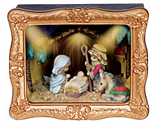 Precious Moments Deluxe Nativity Shadow Box Music Box