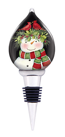 Ne Qwa Art Hand-Painted Blown Glass Frosty's Friends Wine Stopper