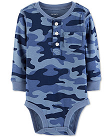 Carter's Baby Boys Camo-Print Cotton Henley Bodysuit