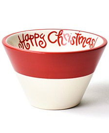 Happy Christmas Collection White Colorblock Mod Appetizer Bowl