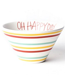 Happy Everything by Laura Johnson Collection Multi Bright Stripe Oh Happy Day Mod Small Bowl
