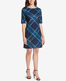 Jessica Howard Printed Elbow-Sleeve Sheath Dress