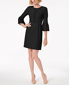 Ivanka Trump Lace-Trim Bell-Sleeve Dress