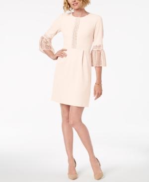 Ivanka Trump Lace-Trim Bell-Sleeve Dress