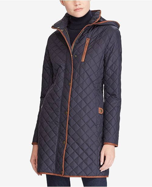 Lauren Ralph Lauren Petite Quilted Hooded Jacket, Created for Macy's