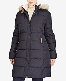Lauren Ralph Lauren Plus Size Faux-Fur Hooded Puffer Coat